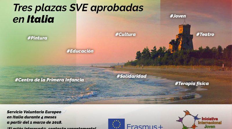 3 Plazas de SVE aprobadas en Italia – Urgente